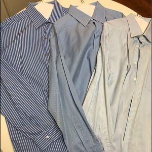 THREE Beautiful Blue Zegna Dress Shirts